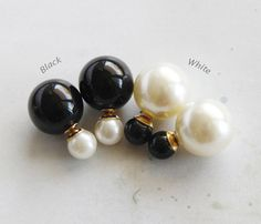 Black&White Double Sided earrings by JHJEWEL on Etsy