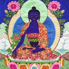 """by Leslie Rinchen-Wongmo    """"Medicine Buddha appears in the deep blue color of lapis lazuli, a stone and a color with remarkable healing effects. His right hand is in the gesture of granting blessings and holds the stem of a medicinal plant. His left hand, in the meditation mudra, holds a begging bowl filled with healing nectar and fruit."""""""