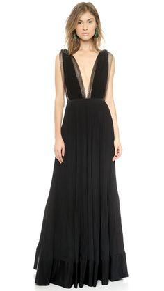 Rochas Вечернее платье с глубоким V-образным вырезом