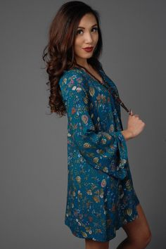 Blue Long Sleeve Floral Print Dress with Lace Back