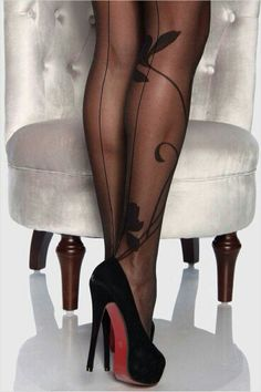 Christian Louboutin OFF!>> Black red bottoms with designer hose Silk Stockings, Stockings Heels, Black Stockings, Stockings Lingerie, Sexy Lingerie, Sexy Heels, Stiletto Heels, Stilettos, Talons Sexy