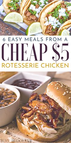 Easy Meals Using a Rotisserie Chicken These easy cheap and relatively healthy chicken dinner recipes use a cheap 5 precooked rotisserie chicken hint We get them half off. 15 Minute Meals, Le Diner, Easy Dinner Recipes, Easy Dinners For Two, Easy Meals To Make, Quick Easy Healthy Dinner, Cheap Easy Dinners, Quick Meals For Dinner, Healthy Dinner Meals