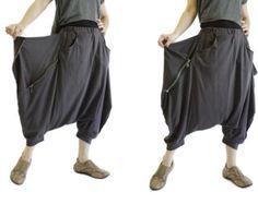 Women Men Pants  Drop Crotch Dark Charcoal Stretch Cotton