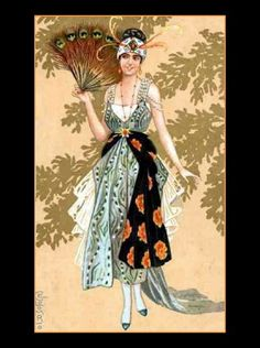 "Canvas Art Print ""11x14"" Art Deco Lady with Peacock Fan Style Fashion"