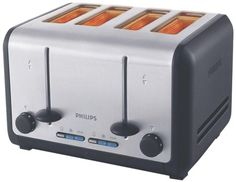 Philips toaster with independent double 2-slice operation and variable width slots. Toast up to 4 slices, thick or thin, evenly golden brown. Features cancel, defrost and reheat button, variable browning control and removable crumb tray.