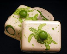 Butter Dish.Sea Turtle Knobbed Double Butter Dish.Green.Sea.Turtle.Ocean.Butter.Handmade by Sara Hunter Designs.