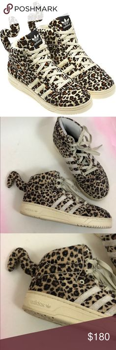reputable site 177f6 06da1 Adidas x Jeremy Scott Leopard Tail Furry High Tops ADIDAS JEREMY SCOTT  LEOPARD TAIL Adidas and