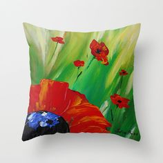 Throw Pillow Cover Red Poppy Pillow Red Green by DesignbyJuliaBars