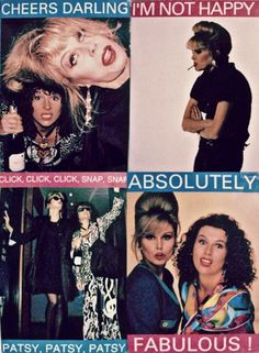 Absolutely Fabulous-loved this show! Patsy And Edina, Patsy Stone, Exercise For Six Pack, Jennifer Saunders, Joanna Lumley, Fantastic Show, Ab Fab, British Comedy, Monty Python