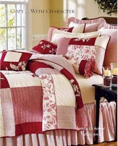red quilt--big simple blocks are nice for a change and great fabric shows off well
