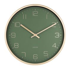 Buy Karlsson Gold Elegance Wall Clock online and save! Karlsson Gold Elegance Wall Clock – Green A timeless contemporary design, this Karlsson Elegance Wall Clock features a gold metal case and green dial. Gold Wall Clock, Wall Clock Design, Green Wall Clocks, Gold Nursery, Gold Bedroom, Crystal Bedroom, Classic Clocks, Wall Clock Online, Dark