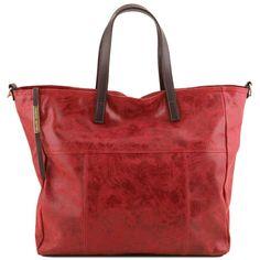 Annie - Shoppingveske / handlebag - Vintage look i skinn - Rød