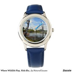 Where Wildlife Play,  Kids Blue Leather Watch. Watches