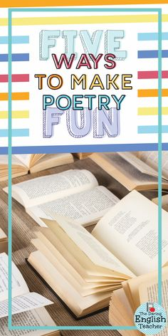 Five ways to make poetry fun in the middle school or high school English language arts classroom. Activities for teaching poetry. Teaching Poetry, Writing Poetry, Teaching Reading, Teaching Ideas, Teaching Tools, Poetry Unit, Teaching Literature, Reading Resources, Guided Reading