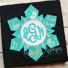 Snowflake Monogram Digital Machine Embroidery by Creativeapplique
