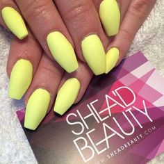 neon yellow short coffin acrylic or biogel nails with gel                                                                                                                                                      More