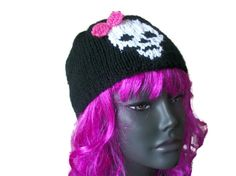 Black hat with full skull and bow - Hand Knitted, Festival Tops, Hand Knitting, Knitted Hats, Skull, Beanie, Bows, Halloween, Black, Fashion