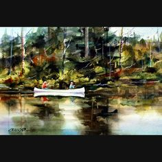 CANOE in Backcountry Colorful Watercolor Print by DeanCrouserArt