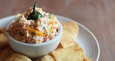 Pimento cheese prepared with minced jalapenos, sharp cheddar cheese, pimentos, mayonnaise, cream cheese, onion powder and garlic powder.