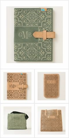 Classic damask pattern with personalized leather and canvas items.