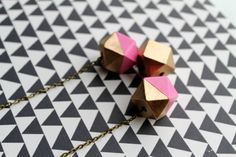 Geometric Painted Wood Bead Necklace  The Metallic by GlamourMash. , via Etsy.