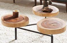 trio table basse tronc d'arbre