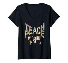 Womens Teach Peace-Movement Tshirt V-Neck T-Shirt Power of Words