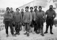 Captain Scott and members of the Terra Nova Expedition on 13 April 1911. Scott is at centre