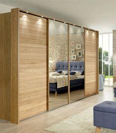 Modern Wardrobes » Jupiter by Stylform - Semi Solid Oak and Glass or Mirror Sliding Door Wardrobe - Head2Bed UK