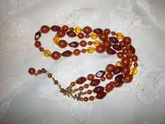 Necklace 1958 Topaz & Brown Beads - Priority shipping included by JMadisons on Etsy