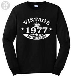 40th Birthday Gifts for Mom 40th Birthday Gift Vintage 1977 Perfect Aged Crown Long Sleeve T-Shirt XL Black - Birthday shirts (*Amazon Partner-Link)