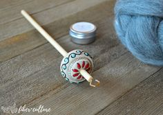 Vintage Inspired Handmade Ceramic Drop Spindle, Top Whorl Drop Spindle, Hand Spinning, Comes with Free Wood Balm Sample