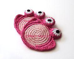 Sweet Pink Frog Crochet Coaster  Nursery Decoration by MariMartin, $20.00