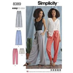 Simplicity 8389 Misses' Pants with Length and Width Variations and Tie Belt sewing pattern Easy Sewing Patterns, Simplicity Sewing Patterns, Vintage Sewing Patterns, Pattern Sewing, Shirt Patterns, Clothes Patterns, Dress Patterns, Cosplay Costume, Love Sewing