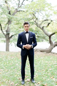 Daniel's tux will be navy just like this one with black lapels, a black bow tie, black suspenders and black Ferragamo shoes.
