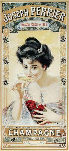 Champagne Joseph Perrier Champgne vintage poster / Vieille affiche publicitaire de Champagne.