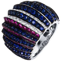 Carlos Udozzo 18 Karat Gold Diamonds, Red Ruby, Blue Sapphire, Cocktail Ring