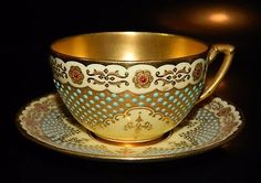 #3: Antique Coalport JEWELED and Gilded Tea Cup and Saucer Tiffany Co NY, 1890