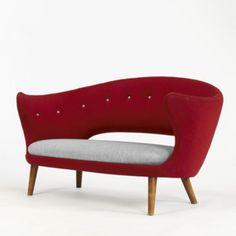 FINN JUHL    settee    Niels Vodder  Denmark, c. 1940  upholstery, teak  58 w x 30 d x 30.5 h inches