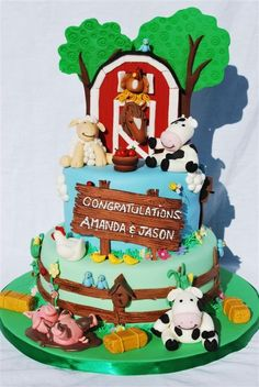 Got inspiration for this cake from many farm cakes here.  All decorations are made of fondant.