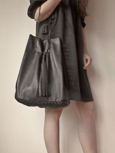 Large hand made leather tote bag