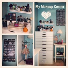 Almost finished with my #makeupcorner thanks to the hubby . #makeupstorage #ikeaalexdrawers #perfume #inspiringwords