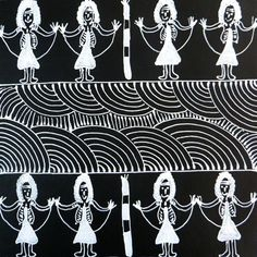 Traditional Aboriginal Art from Central Australia  Artist: Colleen Wallace Nungarai  Title: Black and White Dancing Ladies
