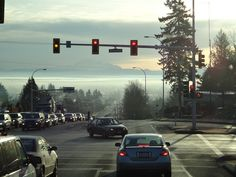 64th Ave and Fraser Hwy.  Over looking Langley and Mt. Baker early in the Morning....  The sun and the mist in the valley.  DSC00170 - 12/01/13