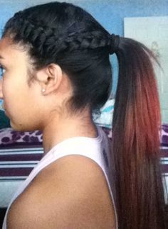 super simple hair style. I use this for volleyball games & practice.