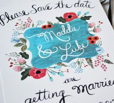 Custom to order Save the Date Postcards Set of 50. $150.00, via Etsy.