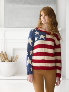 Flag Pullover - Made in America with Lion Brand Heartland!