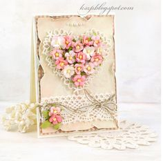 card heart hearts flower flowers romantic vintage shabby chic lace border, fabric and paper