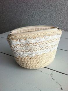crochet coin purse with vintage lace trim