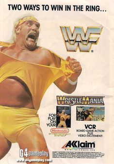 A WWF NES and board game ad that appeared on the back of the Superman In Space…